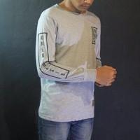 Baju Kaos Lengan Panjang Abu-abu Oneninesix