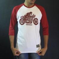 Baju Kaos Raglan Pria Putih Merah Oneninesix