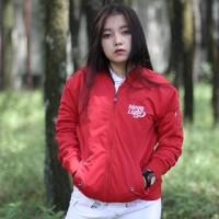 Atasan Jaket Bomber Wanita Merah Moonlight