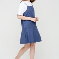 DRESS PANJANG WANITA BASIC FAKE OVERALL DRESS IN BLUE