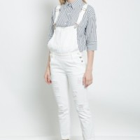 CELANA JEANS WANITA SHOP HER AT OVERALL DENIM PANTS IN WHITE