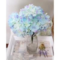 bunga artificial hydrangea bunga buket bouquet biru shabby chic