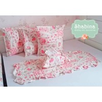 set isi 5 sarung bantal + taplak meja + cover tissue shabby chic A1