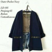 Cardigan kanvas outer pocket navy