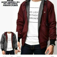 dc Maroon DarkGrey 2in1 Jaket