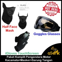 Jual Paket Komplit Pengendara Motor !!! Kacamata + Masker + Sarung Tangan Murah
