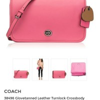 JUAL TAS COACH Glovetanned Leather Turnlock Crossbody Dahlia ORIGINAL