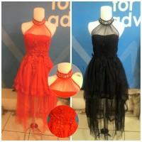 Baju Pesta midi dress brukat brokat lace tile black red fashion import