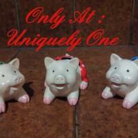 Jual PATUNG MINIATUR PAJANGAN LUCU : BABI PIGGY PIG IN PANTS 3 IN 1 SET Murah