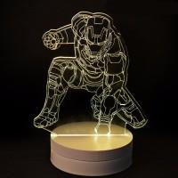 Lampu Hiasan Kamar / Rumah 3D LED Transparan Design Iron Man