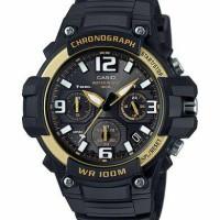 Jam casio crhonograph MCW100H-9A2 ori gold hital rubber MCW-100H-9A2