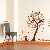 AY9017 Heart Tree and Cat Wall Stiker Dinding WallSticker