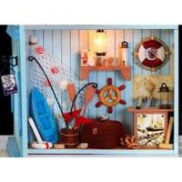 Jual Rumah Miniatur DIY Toko Nelayan Plus Lampu LED 20x10x20cm SS Ba