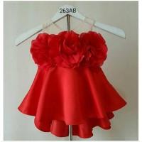 Baju Fashion Anak Bayi Cewek Perempuan Dress Pesta Baby Merah Import