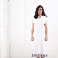 Midi Dress Tangan Pendek White Floral Dress Viscoose Apparel