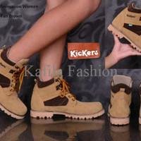 Harga Promo Sepatu Boots Kickers Safety Ujung Depan Besi Women Wanita