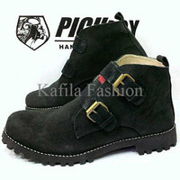 Harga Promo Sepatu Pichboy Boots Women Wanita Hitam Full Black Touring