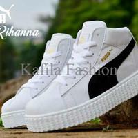 Harga Promo Sepatu Puma Sneakers Boots Women Wanita Pink Full Putih Fu