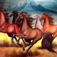 GROSIR Lukisan Kuda Lari 80x60 Pembawa Keberuntungan Hoki Min 6 pcs