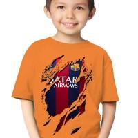 Kaos 3D Elengant Murah Kids Jersey Barcelona Home orange Pink Putih