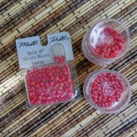 Beads impor miyuki, toho, mill hill warna merah (campuran)