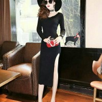 cc7623 long dress slit split merah hitam sabrina low back sexy