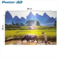 Poster 3D PEMANDANGAN SAWAH #3D29 - size 38 x 58 cm