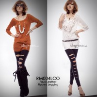 Faux Leather Ripped Legging