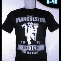 Baju Kaos Distro Manchester United Logo Silver A-55