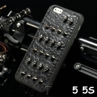 FOR IPHONE 5 5S -3D FASHION PUNK SKULL STUD LEATHER SOFT SILIKON CASE