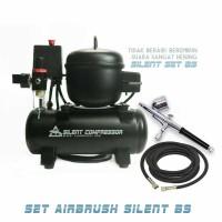 Set alat airbrush dan kompresor silent / Alat gambar