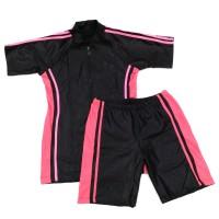 Baju Renang Dewasa Setelan Celana Diving Pria Wanita Hitam - Pink