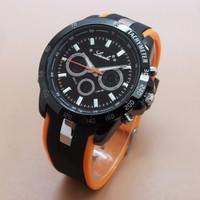 Jam Tangan Pria Lasebo 989 Original Rubber Black Orange