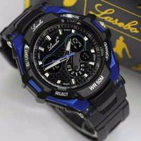 Jam Tangan Pria Lasebo Original Dualtime Black Blue