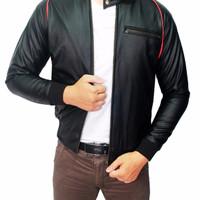 Male Semi Leather Jacket Oscar Hitam JAK 1958