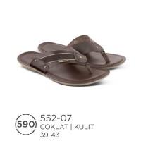 Sendal Kulit Warna Coklat Untuk Pria Merk Azzurra - 552-07