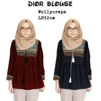 Blouse dior/tunik muslim/lengan panjang/motif batik/polos/simple/RB