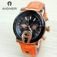 Jam Tangan Wanita / Cewek Aigner MTH33 Polos Leather Orange Jam Tangan
