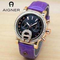 Jam Tangan Wanita / Cewek Aigner BR24 Permata Leather Purpl Jam Tangan
