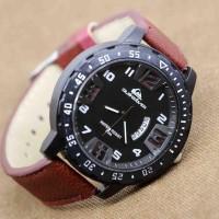 Jam Tangan Pria / Cowok Quiksilver Big Size Leather Maron Jam Tangan
