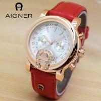 Jam Tangan Wanita / Cewek Aigner BR16 Polos Leather Red Jam Tangan