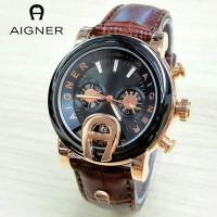 Jam Tangan Wanita / Cewek Aigner MTH33 Polos Leather Brown Jam Tangan