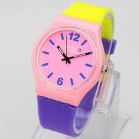 Jam Tangan Pria / Wanita Swatch Colour Rubber Yellow Pink P Jam Tangan