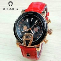 Jam Tangan Wanita / Cewek Aigner MTH33 Polos Leather Red Jam Tangan