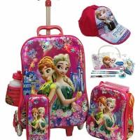 Onlan Tas Trolley Anak 4in1 Set 6 Roda Frozen Fever dan Topi