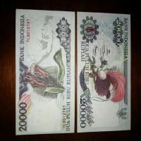 uang asli 20000 rupiah gambat burung cendrawasih bunga cengkeh
