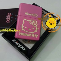 Korek zippo soft pink matte custom grafir hello kitty + nama