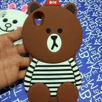 Oppo F1 Plus R9 Silicon 3D Line Brown Cony Softcase Casing Hp