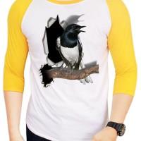 harga Kaos 3d Burung Kacer Poci Raglan Putih Kuning Tokopedia.com