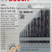 Mata Bor Besi / HSS-R Metal Drill Bit Set 10Pcs 1-10mm BOSCH